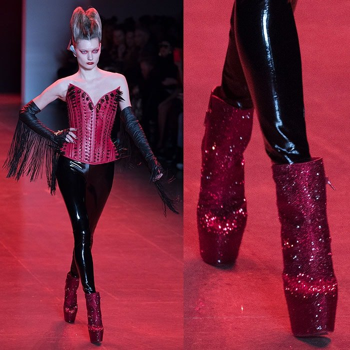 Christian Louboutin for The Blonds red glitter platform booties at The Blonds Fall 2018 fashion show.