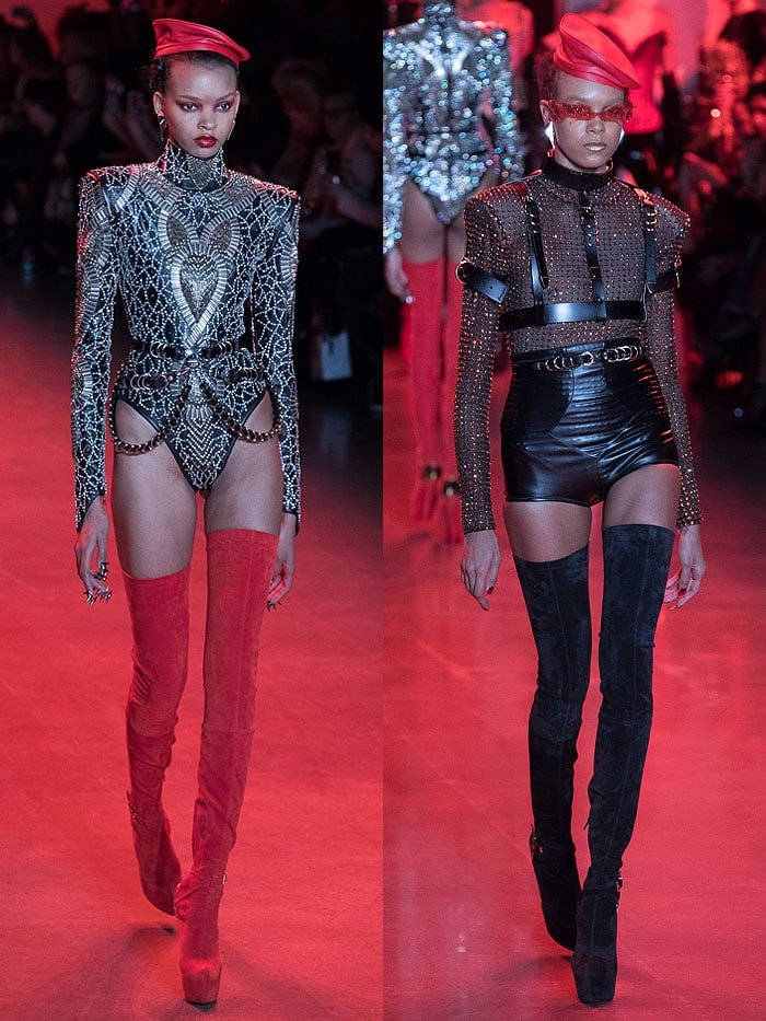 Models in Christian Louboutin for The Blonds stretch-suede thigh-high platform boots with gold heel cups.