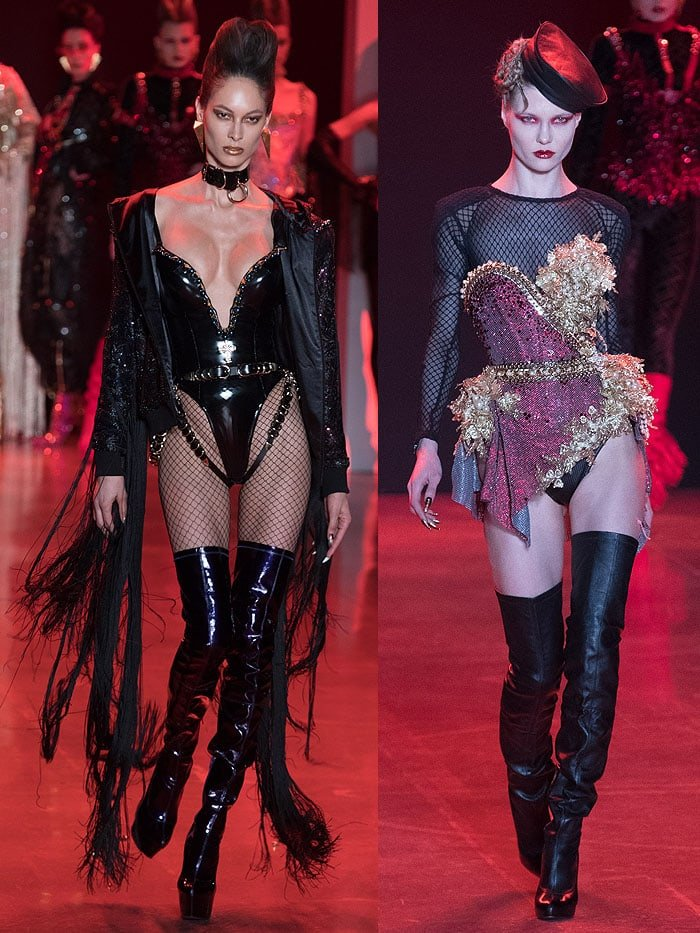 Models wearing Christian Louboutin for The Blonds slouchy thigh-high boots in black patent and black leather.