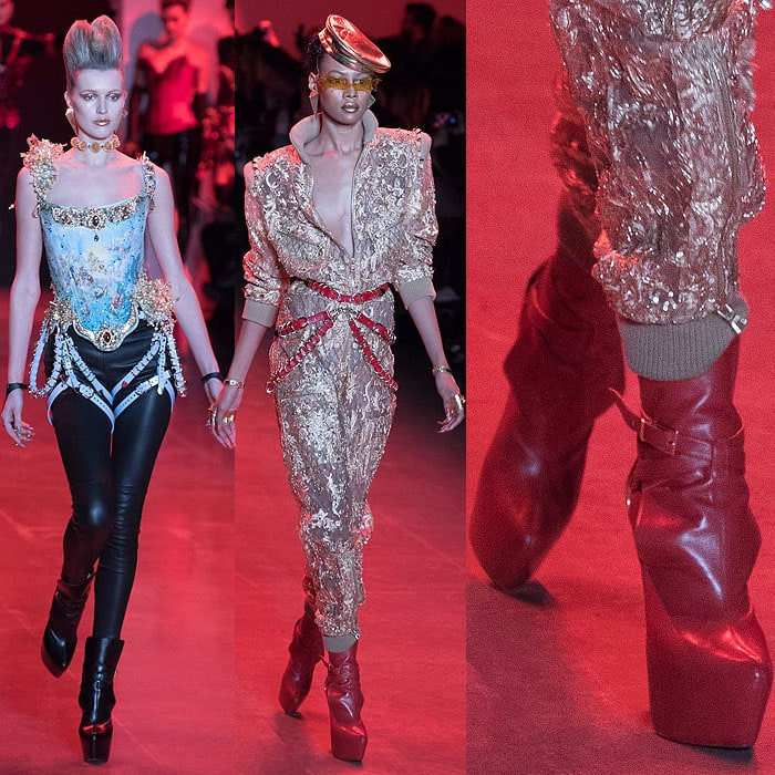 Models wearing Christian Louboutin for The Blonds slouchy platform boots.