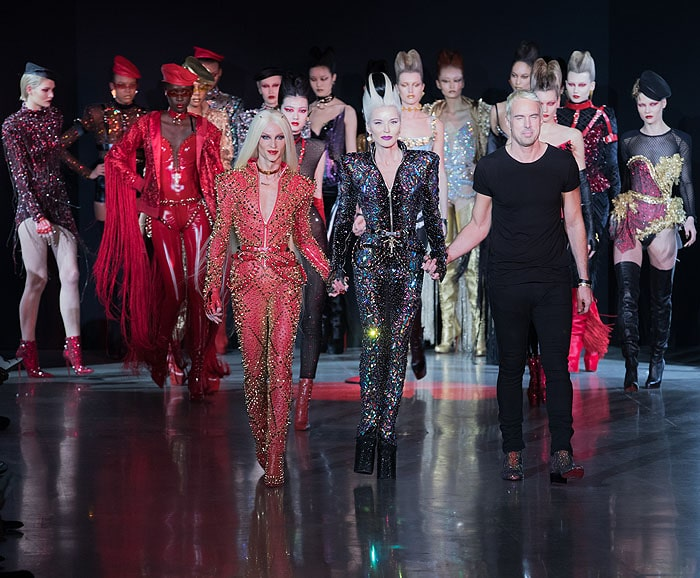 Daphne Guinness flanked by The Blonds designers, Phillipe and David Blond, atThe Blonds Runway Show 2018 for NYFFW 2018 at Spring Studios in New York City.
