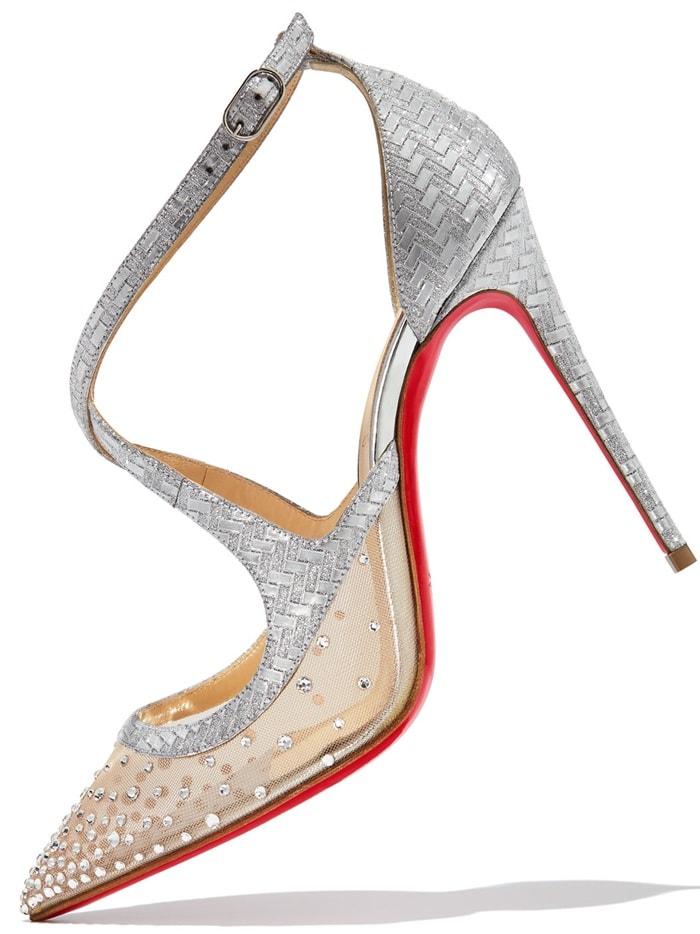 'Twistissima Strass' Ankle-Strap Pumps in Silver Matrix Glitter