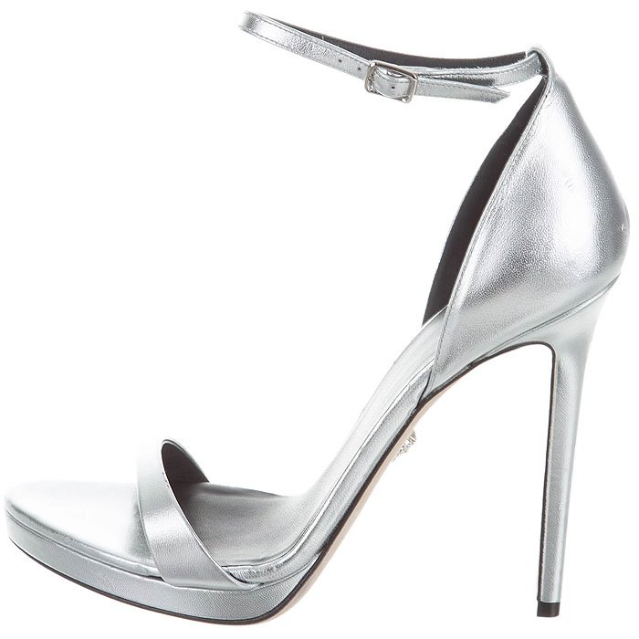 Versace Ankle-Strap Sandals in Metallic Silver