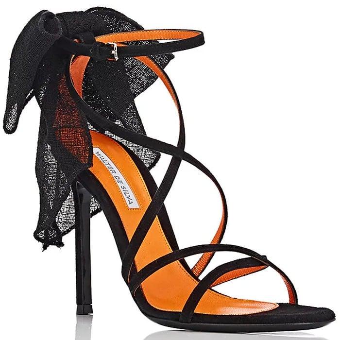 Walter De Silva Linen-Bow Strappy Suede Sandals
