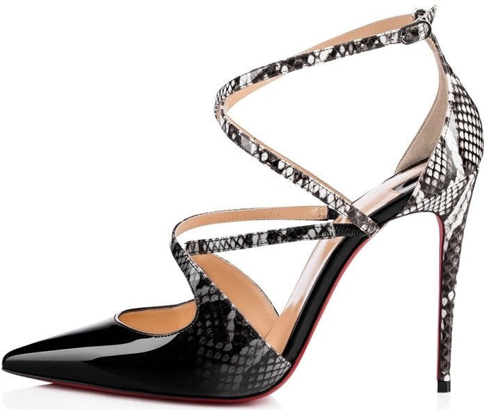 'Crossfliketa' pumps in black-to-roccia print dégradé patent leather