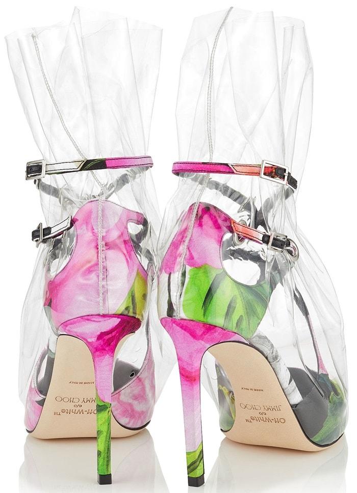 'Claire' 100 plastic bag pumps in floral print
