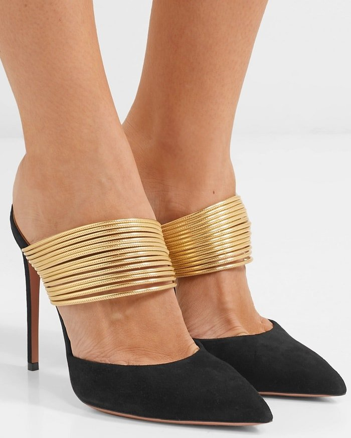 Aquazzura's Rendez Vous suede mules have been made in Italy and topped with a thick band of gold leather to keep your feet secure as well as balance the 105mm heel