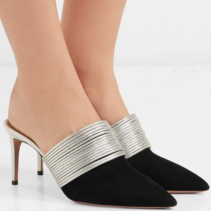 This point-toe pair has been crafted in Italy from soft black suede and is set on a 75mm heel