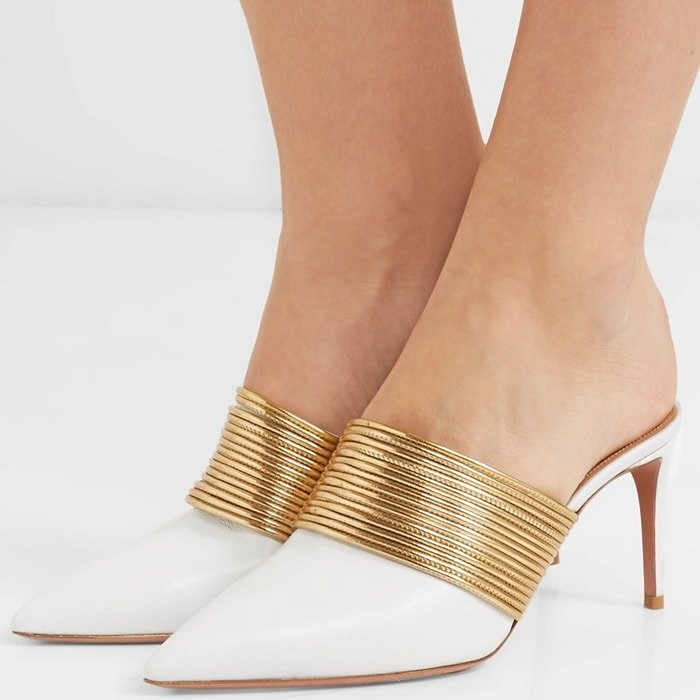 Aquazzura 'Rendez Vous' leather mules in white