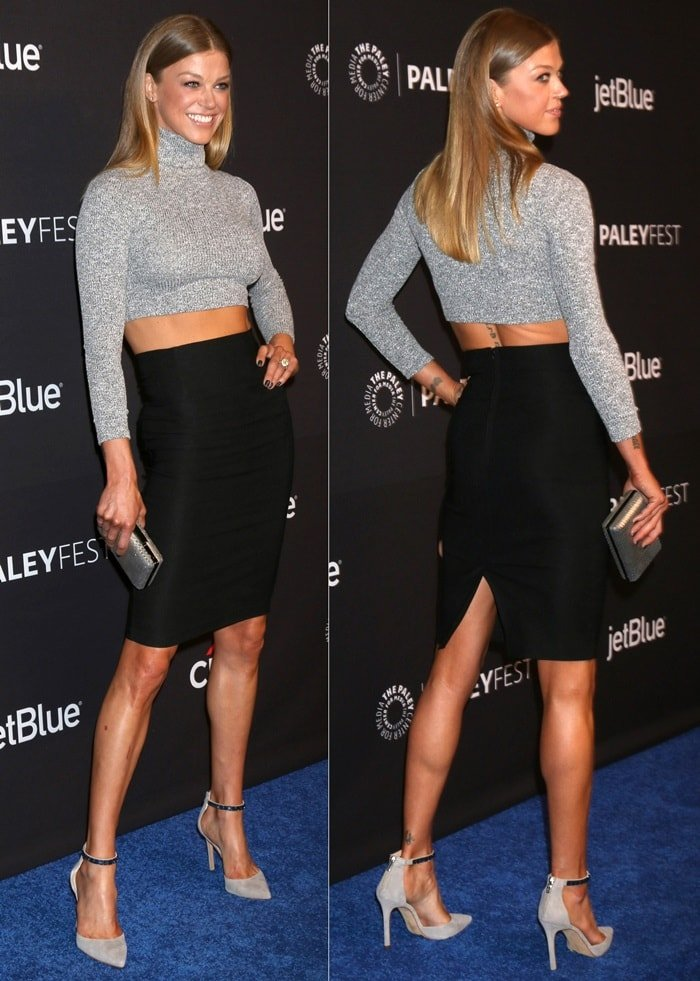 Adrianne Palicki wearing a sexy black skirt and a crop top