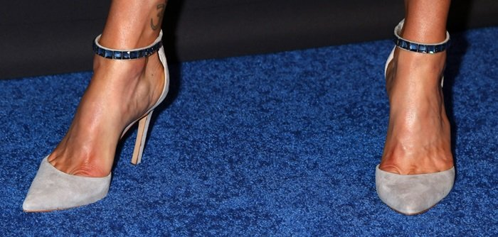 Adrianne Palicki's feet in jewel-embellished pointy-toe pumps