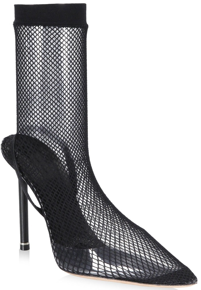 They feature a clear PVC toe box and slender leather-covered stiletto heel