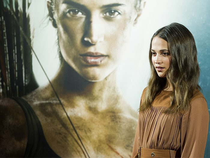 "Alicia Vikander attending the ""Tomb Raider"" photocall at Santo Mauro Hotel in Madrid, Spain, on February 28, 2018."