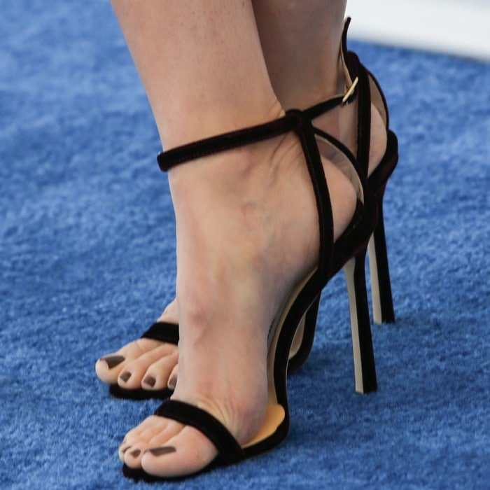Alison Brie's naked feet in Jimmy Choo 'Minny' sandals