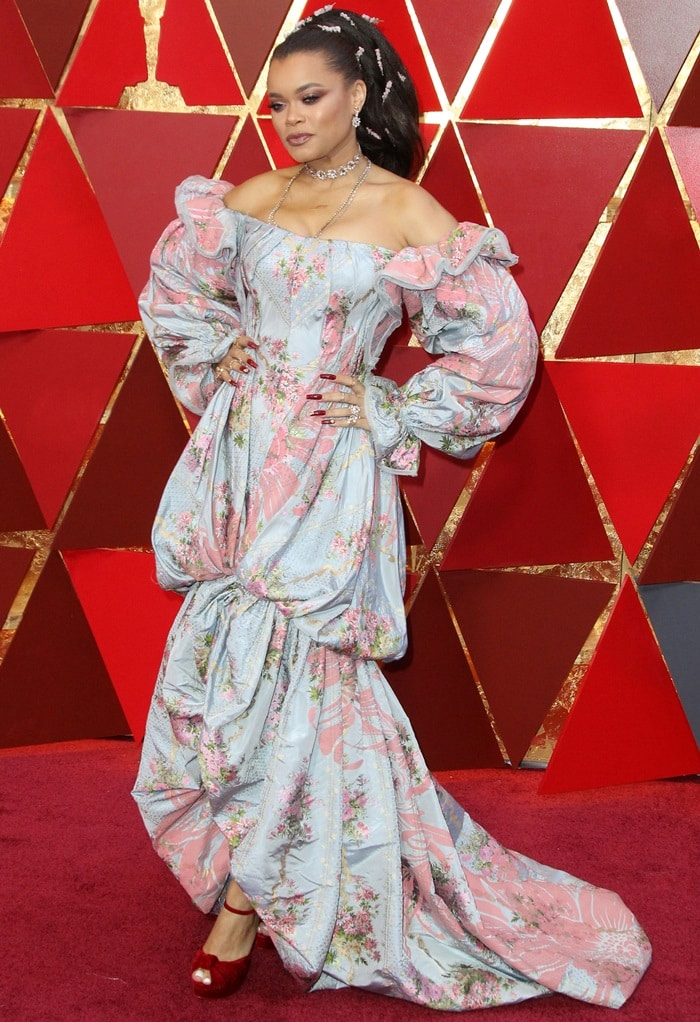 Andra Day in a costumey Zac Posen Spring 2018 gown at the 2018 Oscars at the Hollywood & Highland Center in Hollywood, California, on March 4, 2018