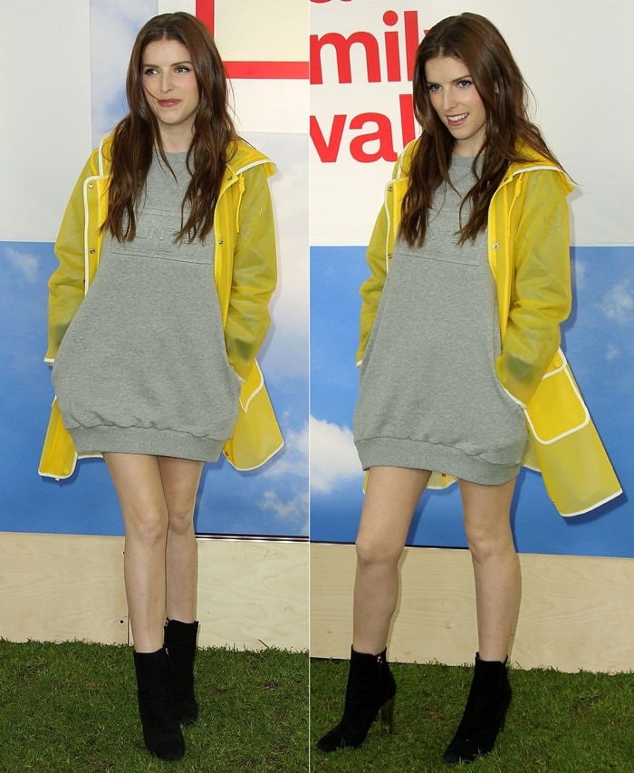 Anna Kendrick in a Hunter for Target sweatshirt dress and Giuseppe Zanotti booties