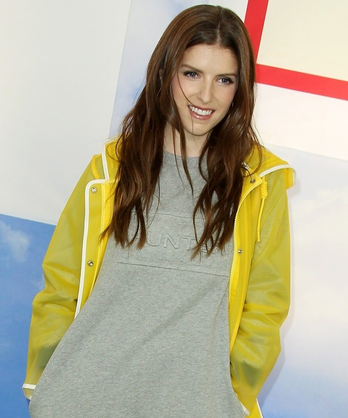 Anna Kendrick wearing a yellow raincoat at the Hunter for Target Ultimate Family Festival
