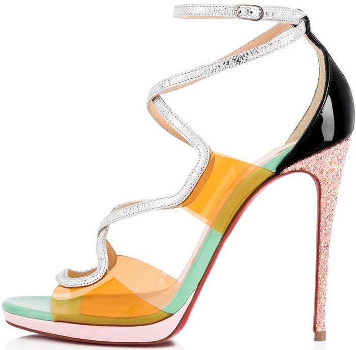 This sculptural sandal blends sunrise PVC with a slender silver vintage specchio leather cross strap that wraps around and fastens at the ankle