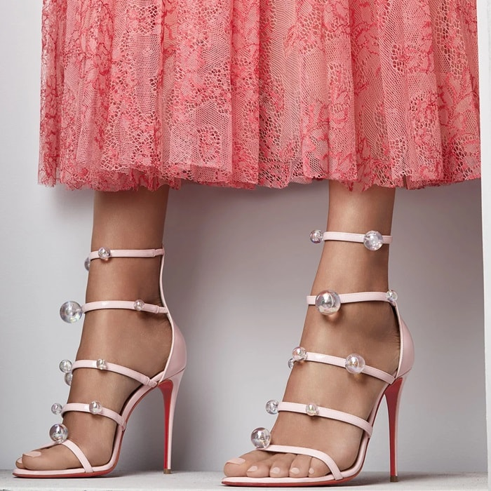 Christian Louboutin patent leather sandal with ball-stud trim