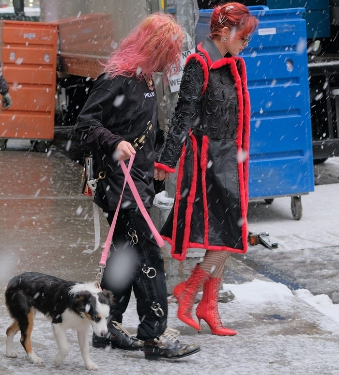 Bella Thorne in New York with her boyfriend Mod Sun during a snowstorm