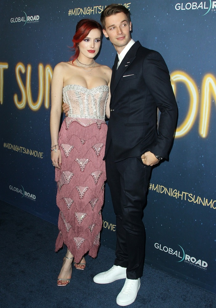 Bella Thorne cozied up to co-star Patrick Schwarzenegger the premiere of their new movie 'Midnight Sun'