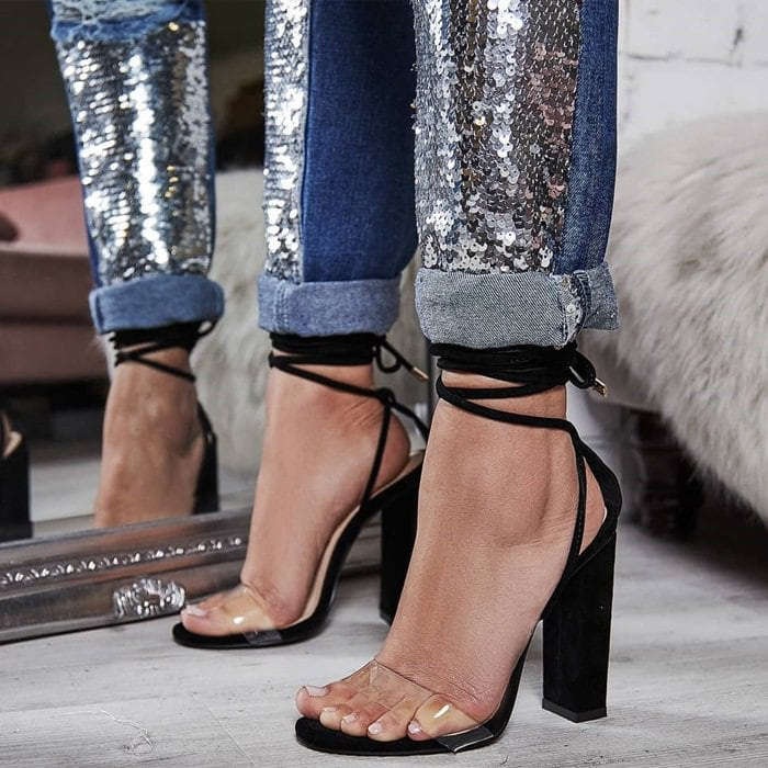 'Bello' Perspex Lace Up Block Heel Sandals