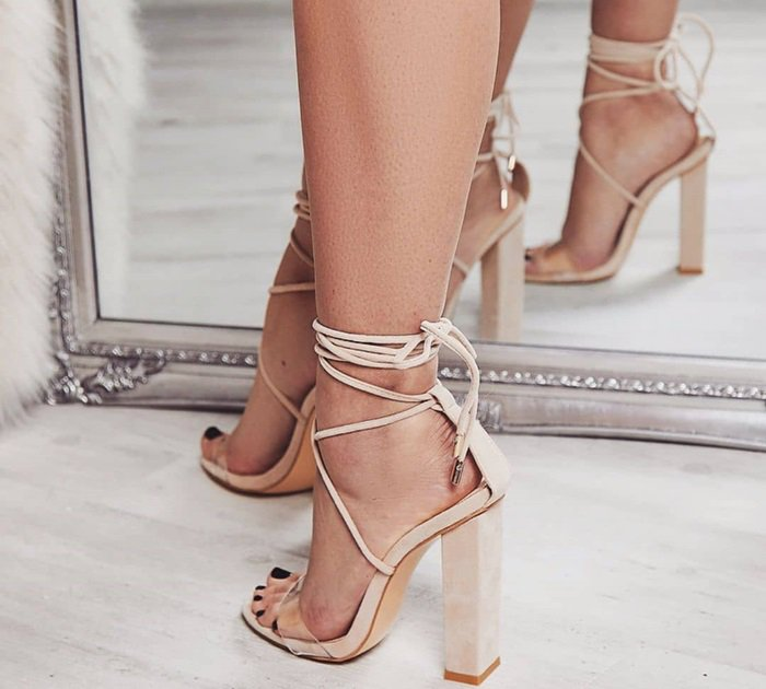 Bello Perspex Lace Up Block Heel Sandals