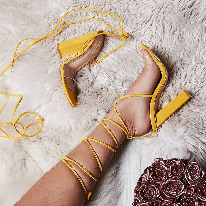 Yellow 'Bello' Perspex Lace Up Block Heel Sandals