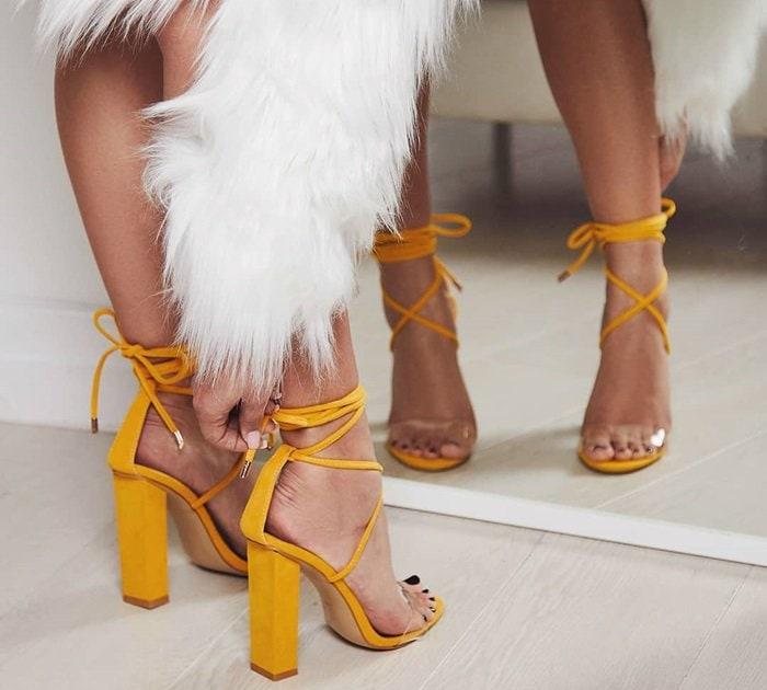 Bello Perspex Lace Up Block Heel Sandals