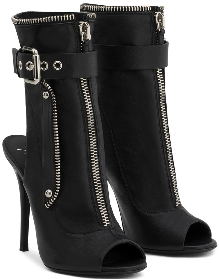 These black calf leather zip detail boots feature a front zip and buckle fastening