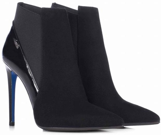 Black suede and patent pointed ankle boot with stretch insert and stiletto heel