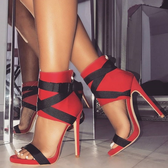 Buckle Stiletto Heels Red Spandex