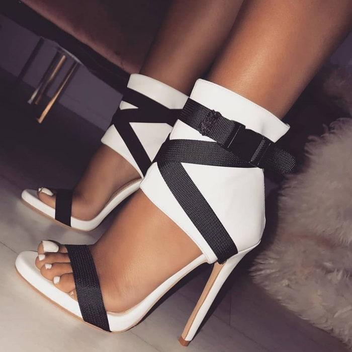 White Buckle Stiletto Heels