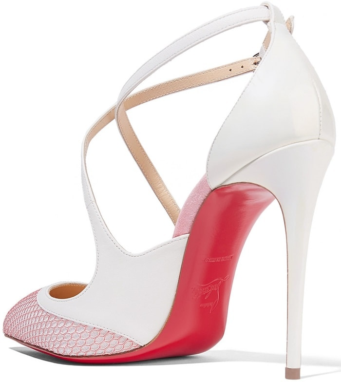 Updated in a white and bright-pink hue, they're detailed with delicate crossover straps