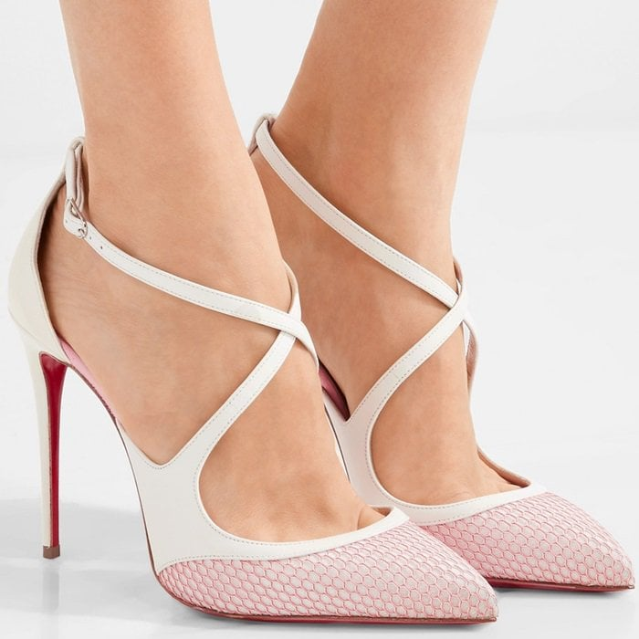 Christian Louboutin 'Crissos' fishnet and patent-leather pumps
