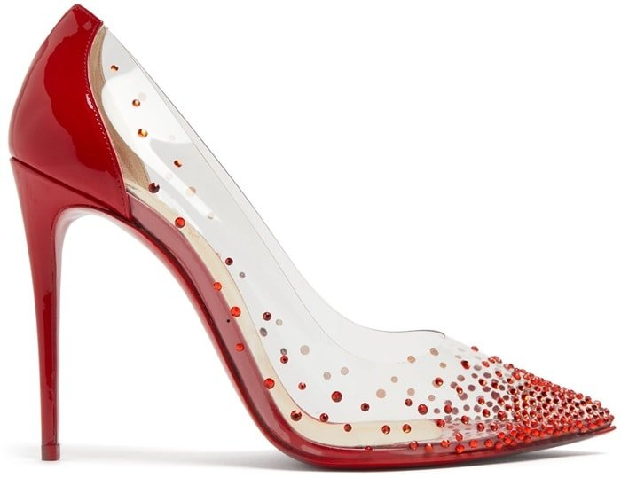 They're shaped with a classic pointed toe and a high stiletto heel, and feature a transparent PVC frame adorned with red crystals