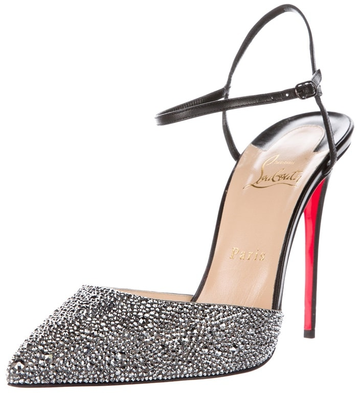 Black leather Christian Louboutin 'Rivierina' pumps with silver-tone vamps featuring Strass embellishments