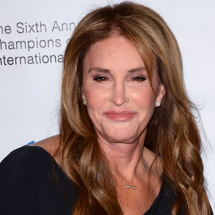 Caitlyn Jenner wearing a 'Caitlyn' necklace atthe 2018 Worlds Values Network Champions of Jewish Awards Gala in New York City on March 8, 2018