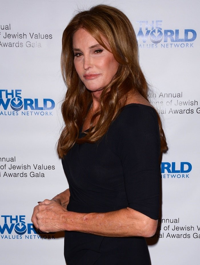 Caitlyn Jenner wearing a conservative black dress
