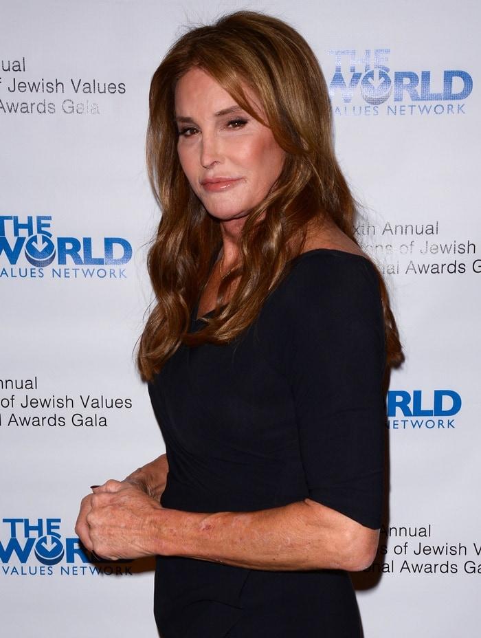 Caitlyn Jenner wearing a conservative black dress