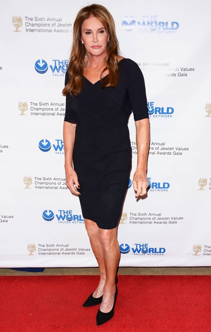 Caitlyn Jenner paired her conservative black dress with matching black pointy-toe pumps