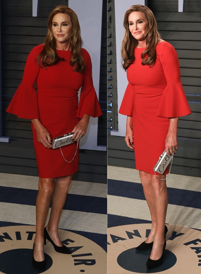 Caitlyn Jenner wearing a knee-length red dress at the 2018 Vanity Fair Oscar Party