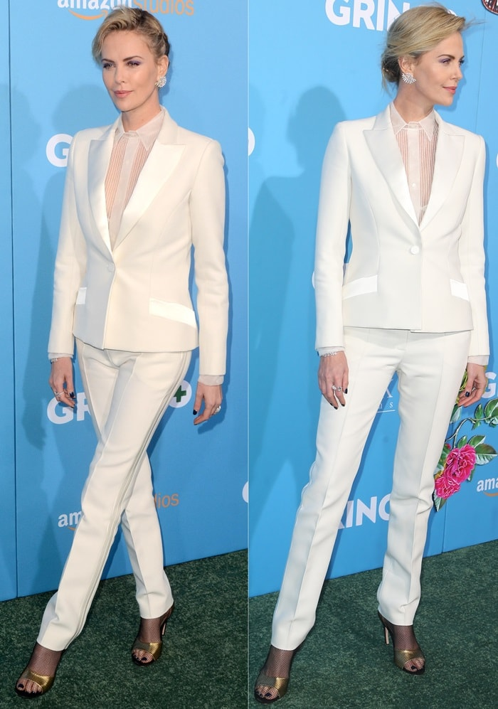 Charlize Theron wearing a Dior Haute Couture tuxedo suit at the 'Gringo' premiere