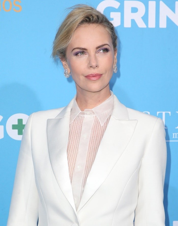 Charlize Theron accessorized with amazing Messika diamond earrings