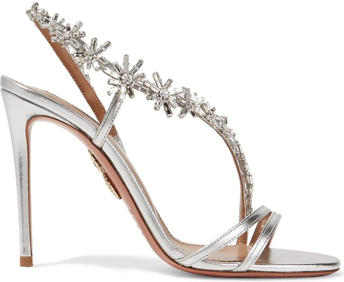 Crystal starbursts swirl across the top of these strappy metallic Aquazzura heels