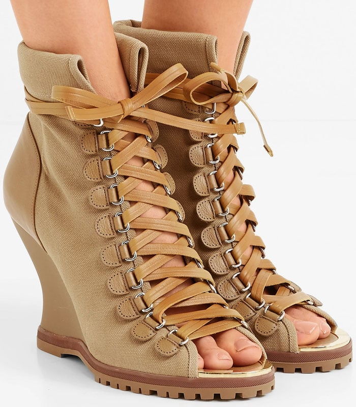 Chloe 'River' Lace-Up Peep-Toe Wedge Booties