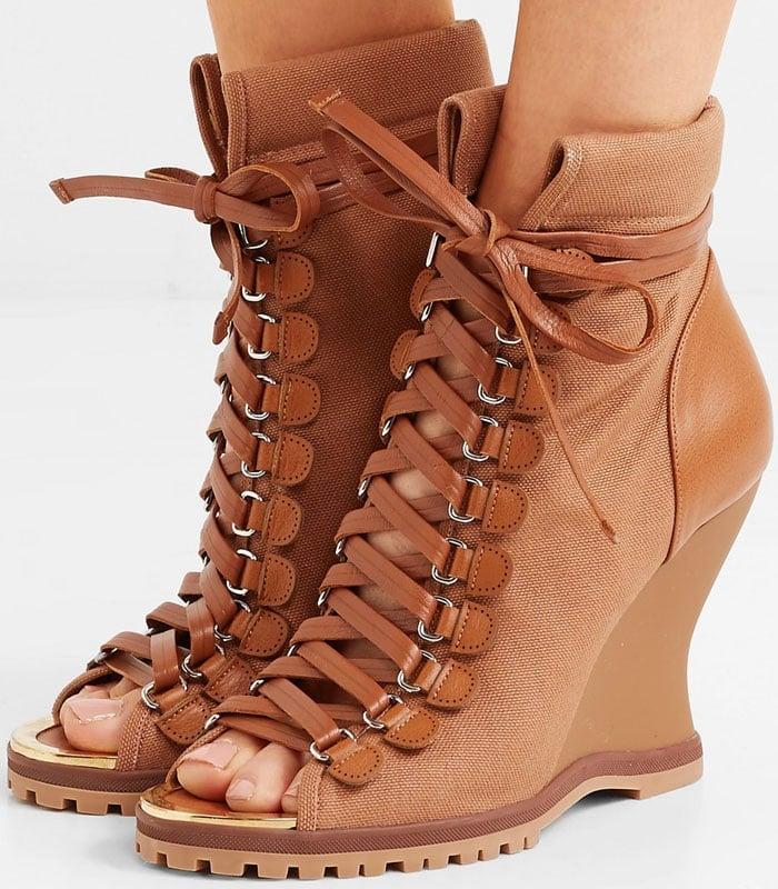 Chloe 'River' Lace-Up Peep-Toe Wedge Booties