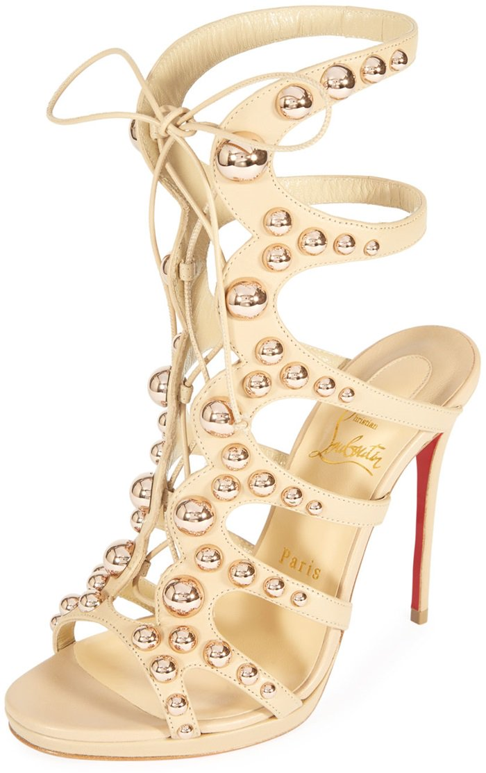 Christian Louboutin gladiator sandal in napa leather with bauble-stud detail