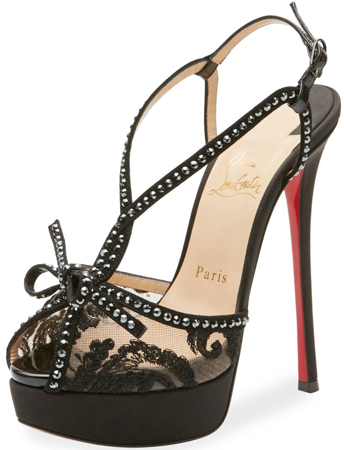 Christian Louboutin pump in crystal-studded lace with leather trim