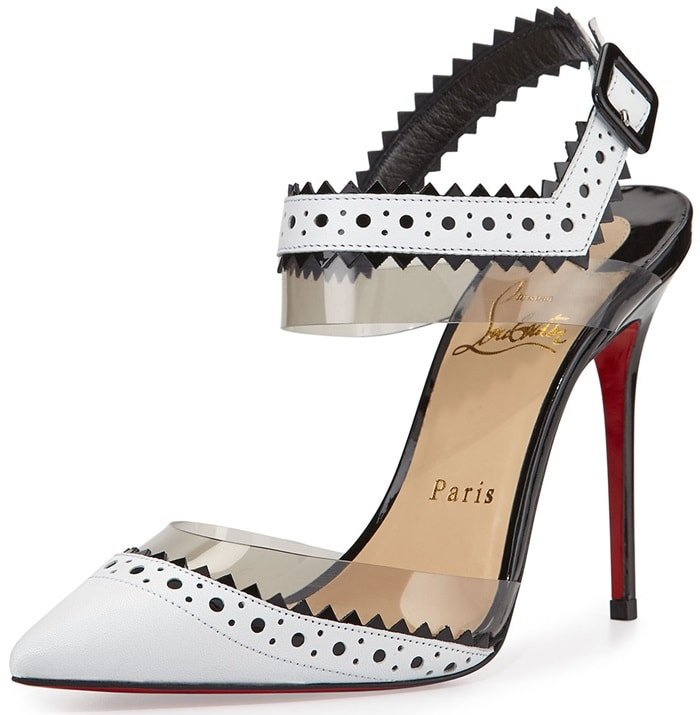 Christian Louboutin leather d'Orsay pump with cutout, pinked-edge trim